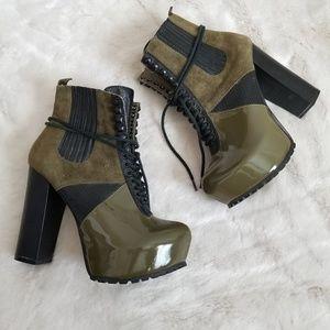 Ai for Ai X Matiko platform army green booties 6
